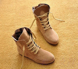 Wholesale Plus Size Women Red Boots - Wholesale-2015 New Women Flat Ankle Snow Motorcycle Boots Female Suede Leather Lace-Up Martin Boots 8 Colors Plus Big Size 35-44 XWX109