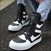 Wholesale Open Toe Rivet Wedge - Wholesale-Comfortable 2015 new fashion boots man leather high-top shoes popular side zipper rivet men's best sale boots flats Punk shoes