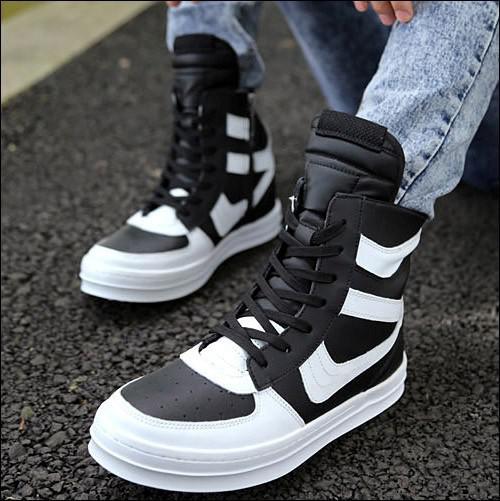 Toptan-Rahat 2015 yeni moda çizmeler adam deri yüksek top ayakkabı popüler yan fermuar perçin erkek en iyi satış çizmeler daireler Punk ayakkabı