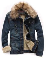 меховой пиджак оптовых-Wholesale-2015Plus Size Men'S Winter Thick Plus Velet Warm Slim Fur Collar Wool Denim Jacket Man Jeans Jacket Male Outerwear M-Xxxxl