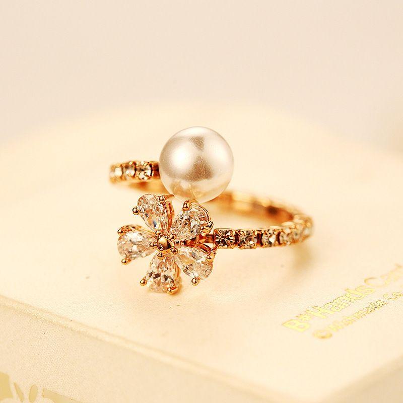 Big Pearl Gold Wedding Rings For Women Adjustable Rings Flower ...