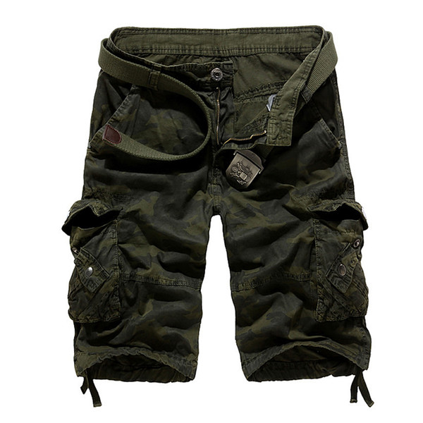 Wholesale-High Quality Loose Men Shorts Casual Camouflage Cargo Shorts Men  Baggy Cotton Short Pants Army Camo running Bermuda