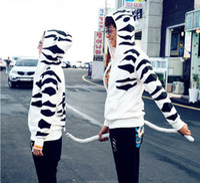 Wholesale leopard hoodie man - Wholesale-Female Male Women Men Animal Toradora Tiger X Dragon Hoodie with Ears Tail Leopard Hooded Hoody Jacket Sweater supernova sale