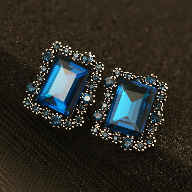 Square Gold Big Stud Earrings for Women Vintage Brand Fashion ...