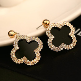 Wholesale Cc Studs - for women gold dangle earrings vintage clover leaf fashion jewelry female grass Zircon brincos grandes pendientes cc channel