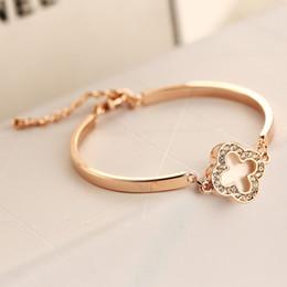 Wholesale Rose Gold Clover Bracelet - gold bracelets for women fashion style white happy Clover stunning rose gold bracelet jewelry love brand