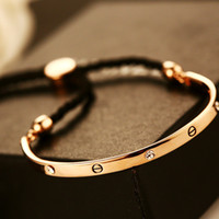 Wholesale Strand Link - gold bracelets for women fashion jewelry adjustable bangles Charm Bracelet Bangle New Luxury Brand Top Quality Rose Gold Plated Inlay