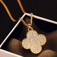 Wholesale Clover Flower Necklace - fashion necklaces for women clover leaf flower vintage necklace long choker pendant collares chain gold statement accessories