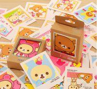 Wholesale Rilakkuma Greeting Card - Wholesale- 12 pack lot Colorful Rilakkuma Single-Page Type Greeting Cards Kawaii Stamp Postcard Set Letter Envelope Gift Card