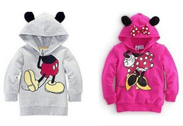 Wholesale Girls Gray Sweatshirt - Wholesale-2015 New Arrival Children Boys Girls Hoodie Long Sleeve Hoodies Mickey Minnie mouse cartoon top kids hoodie sweatshirt