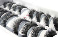 Wholesale Cheap Human Hair Lashes - Thick Long False Eyelashes 100pairs lot cheap extremely false eye lashes Eye Lashes Voluminous Makeup