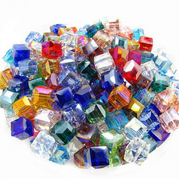 Wholesale Glass Bead Mixed Shapes - Wholesale-6mm 100pcs Fashion Mix Color Square Shape Crystal Beads Glass Beads Jewelry Loose Beads for Necklace&Bracelet HC399