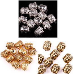 Wholesale Tibetan Silver Spacer Beads Wholesale - Wholesale-Free Shipping 20pcs lot Metal Charms for Jewelry Making Sliver Golden Tibetan Silver Buddha Head Spacer Beads 10x8mm