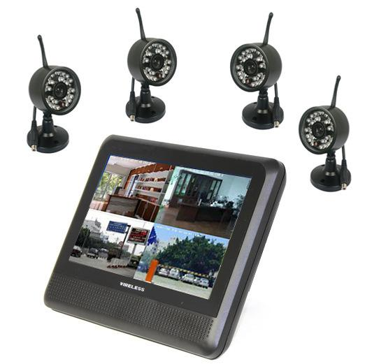 Wholesale-2.4Ghz digital video security camera system wireless 4ch with 7'' LCD monitor long range home wireless cctv camera dvr kit