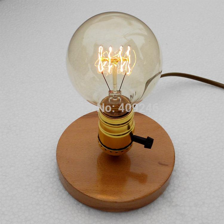 Online Cheap Wholesale Edison Retro Nostalgia And Solid Wood Base E27 Light  Bulb Diy Small Desk Lamp Studio Bar Coffee Shop Decoration Lighting By ...
