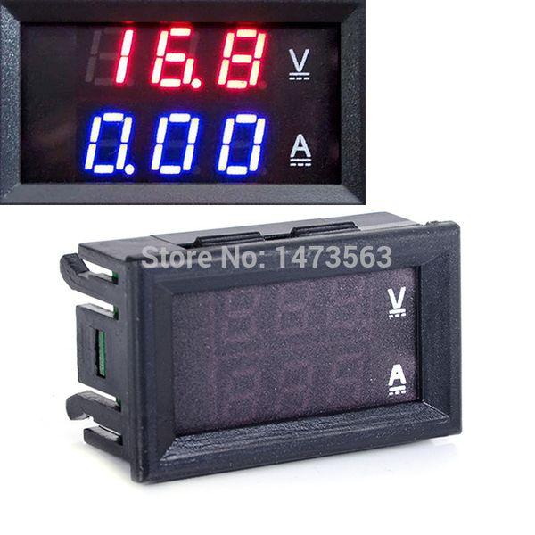 Wholesale-5Pcs/Lot Red Blue LED DC 0-100V 10A Dual display Meter Digital Voltmeter Ammeter Panel Amp Volt Gauge Freeshipping DJ00017