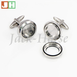 steel floats Coupons - Wholesale-The most popular Waterproof cufflinks 316l stainless steel floating locket cufflink