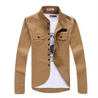 Wholesale Cheap Military Coats - Wholesale-2015 Fashion Novetly Top quality Autumn Men Military Style Stand-up Collar Jacket Cheap price Men Thin coat 5 color