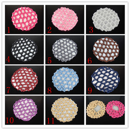 Wholesale Hair Bun Making - Wholesale-2015 Mesh for Hair Cap Making Caps free Shipping  10pcs Bun Cover Snood Hair Net Ballet Dance Skating Crochet Beautiful Colors