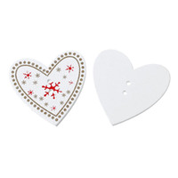 Wholesale Two Hole Heart Button - B45837 Wood Sewing Scrapbooking Button Heart White Two Holes Red Christmas Snowflake Pattern 3.5cm x 3.3cm,50 PCs 2015 new