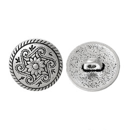 Wholesale Antique Shank Buttons - B44844 Metal Shank Button Round Antique Silver Single Hole Flower Pattern 15.0mm Dia,100 PCs 2015 new