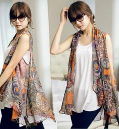 Wholesale Elegant Summer Cardigans - Wholesale-F~3XL!!New Summer Ladies Fashion Plus Size All-match Novelty Flower Print Elegant Chiffon Cardigan Sleeveless Casual Vest Coats