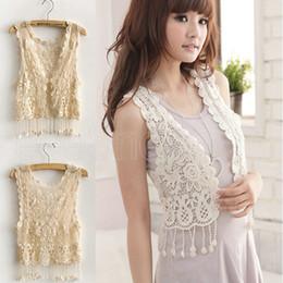 Wholesale Cotton Shrugs - Wholesale-2015 New Summer Girl Lady Crochet Tassel Shrug Top gilet Waistcoat Cardigan Women's vest cutout vest short jacket waistcoat