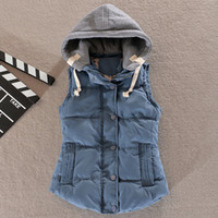 Wholesale Women Cotton Gilet - Wholesale-autumn and winter gilet women short cotton thickening quilted puffer vest hood plus size casual office vest waistcoat