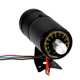 Wholesale aluminum gauges - Wholesale-New Arrival Black Aluminum Adjustable Tachometer Gauge Auto Car Motor Instruments 1000-11000 RPM Shift LED Light