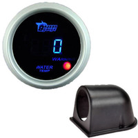 "Wholesale water gauge digital - Wholesale-2"" 52mm Black Pod Holder Blue LED Water Temp Temperature Digital Gauge Car Water Temperature Meter Water Radiator Free"