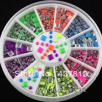 Wholesale Neon Fluorescent Beads - Wholesale-10 Wheels 5000pcs Fluorescent Neon Color Metal Studs 2-3mm Square Round Mix Studs Nail Art Rhinestone Decoration Beads Manicure