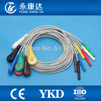 Wholesale Ecg Lead Cable - Wholesale-Generic DIN style Safety 7 Leads ECG Holter Cable Snap Leadwires set