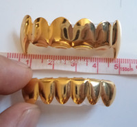 Оптовый-РЕАЛЬНЫЙ ШИН! REAL GOLD PLATED HIPHOP TUSH TEETH GRILLZ TOP AND BOTTOM GRILL SET