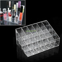 Atacado Frete Grátis ES0116 Trapezoid 24 Lipstick Lip Gloss Display Stand Holder Case Cosmetic Organizer