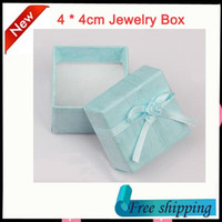 Discount discount-discount - Wholesale-Fashion Gift Box,Necklace Earrings Bracelet Ring Jewelry Box,4 * 4cm Blue Jewellery Boxes Package 48pcs lot free shipping