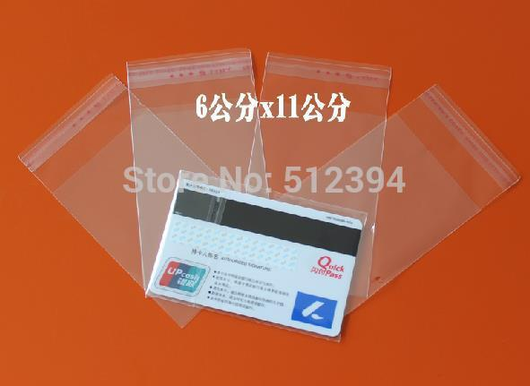 "Wholesale-500 Opp bag Self Adhesive Clear Plastic Bag for ID Card Jewelry Pe bag 6x11cm 2.4""x4.3"" Inch"