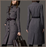Wholesale european fashion women s designer winter cashmere trench coat wool ladies maxi long outerwear bow tie belt grey WJ3001