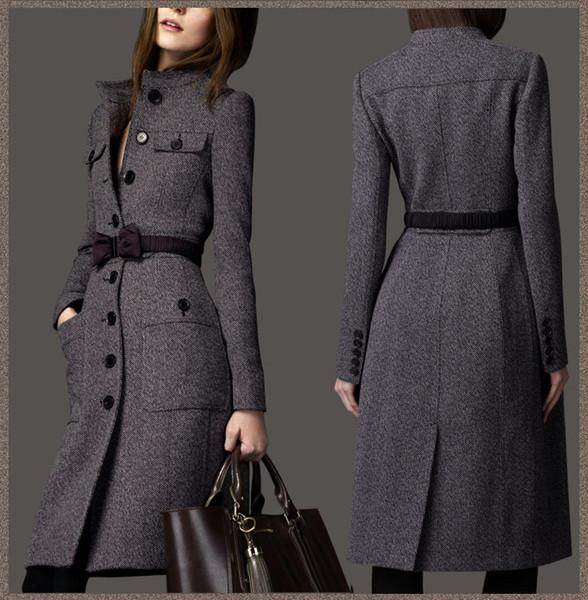 Gros-2015 mode européenne femmes designer hiver Cachemire Trench-Coat laine dames maxi long survêtement noeud papillon ceinture gris WJ3001