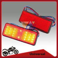 reflector led motocicleta al por mayor-Venta al por mayor-Rojo / Blanco / Ámbar LED Rectángulo Reflector Cola de freno Luz de marcador Luz intermitente para camión remolque RV Motocicleta SUV