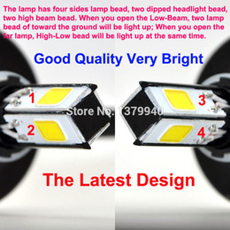 Wholesale H4 Led High Low Beam - Wholesale-Free Shipping New 4PCS-Lamp-beads 2200LM H4 H6 Hi Lo LED Motorcycle Headlight Bulb Headlamp High Low Conversion Beam Kit #3