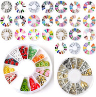 Wholesale Fimo Slice Nail Art - Wholesale-18Styles You choose 3D Mixed Fimo Clay Rhinestone Slice Nail Art Tips UV Acrylic Decoration Wheel