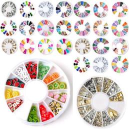 Wholesale Fimo Clay Nail Art - Wholesale-18Styles You choose 3D Mixed Fimo Clay Rhinestone Slice Nail Art Tips UV Acrylic Decoration Wheel