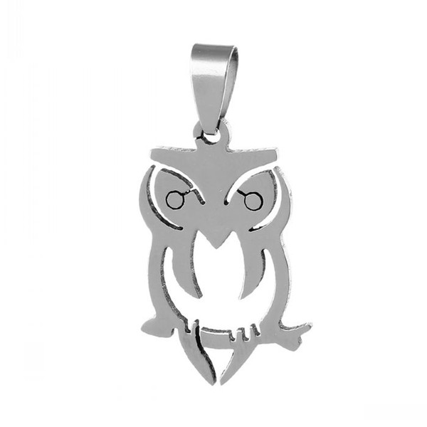 B42612 Stainless Steel Charm Pendants Owl Animal Halloween Ornaments Silver Tone Pinch Clasp 3.8cmx 1.9cm,5PCs