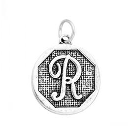 """Wholesale Alphabet R Charms - K85297 Charm Pendants Round Antique Silver Alphabet Letter """"R""""Carved 23.0mm x 20.0mm,10 PCs"""