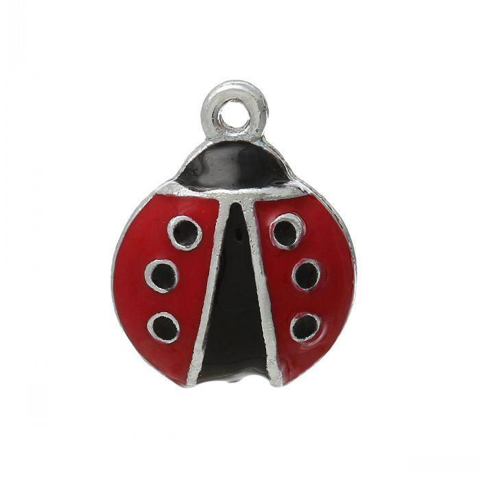 "B41570 Charm Pendants Ladybug Silver Tone Enamel Red & Black 18mm x 14mm(6/8"" x 4/8""),20PCs"