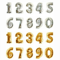 Wholesale Lanterns Flying - Wholesale-Foil number 40inch big 0-9 golden silver balloons birthday wedding party decoration flying helium inflatable lanterns balloon