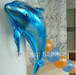 Discount dolphins decorations - Wholesale-Dolphin Under The Sea Super Shape Mylar Foil Balloon Summer Luau Party Decorations Free Shipping