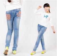 Wholesale Children S Denim Fashion - Wholesale-Retail 1 Pc Spring Autumn New 2015 Children Bow Pants Baby & Kids Jeans Girls Jeans Fashion Denim Trousers CC1643