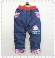 Wholesale Kk Rabbit Baby - Wholesale-High quality 1pcs KK-RABBIT summer style and thick winter warm cashmere kids pants Boys children jeans baby jeans