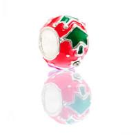 ingrosso round red beads-B82202 Perle di fascino stile europeo rotondo argento placcato modello albero di natale smalto rosso verde circa 11 mm, foro: 5.0 mm, 5 pezzi